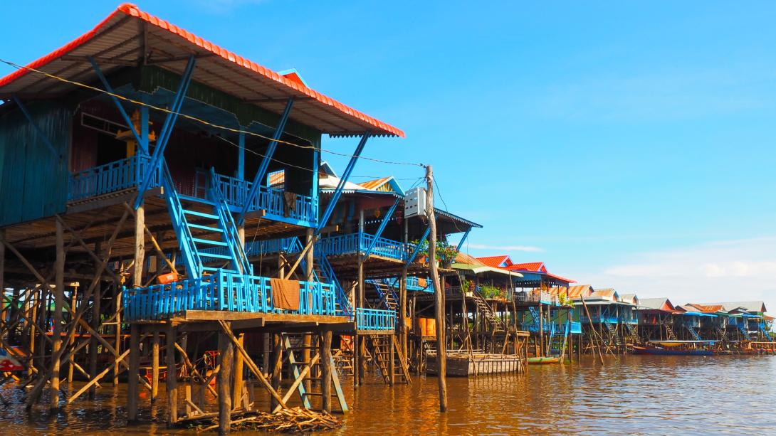 Houses on stilts are seen along the Tonle Sap Rive in Cambodia.